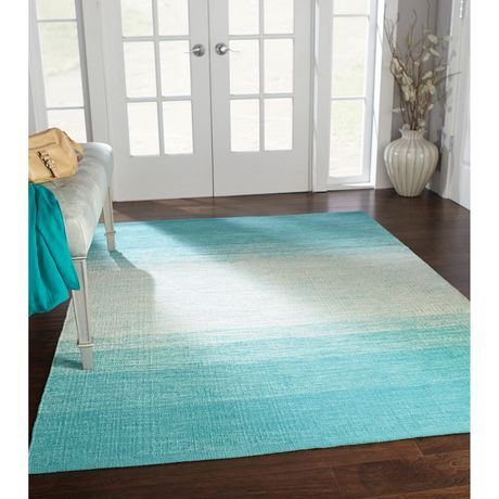 Lovely for a beach house - Turquoise Ombre Area Rug, 4 ft 11 x 6 ft 9