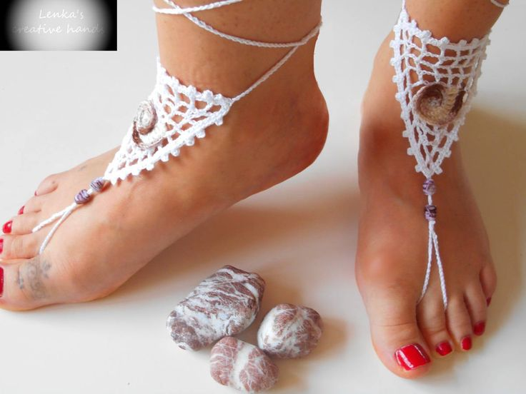 Beaded barefoot sandals with crochet applique-NEW for 2017, Beach barefoot sandals, Foot jewellery, Beach shoes, Ready to ship, Gift for her by Lenkascreativehands on Etsy