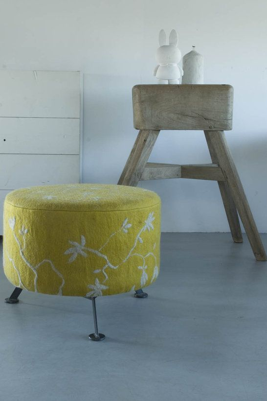 Yellow felted ottoman...just too wonderful. Would love one. via Poetryworld