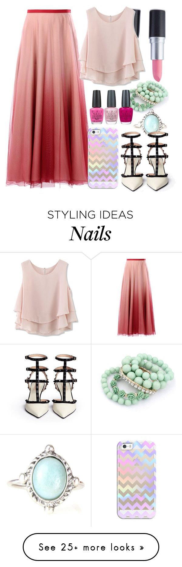 """<3<3<3"" by maiiira-nair on Polyvore featuring RED Valentino, Casetify, Ruby Rocks, Chicwish and OPI"