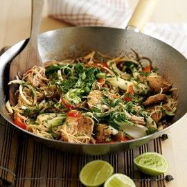 Sticky hoisin pork stir-fry with rice noodles and pak choi recipe