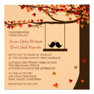 Custom Love Birds Falling Hearts Oak Tree Wedding Invite Created By Invitationblvd This Invitation Design Is Available On Many Paper Types And
