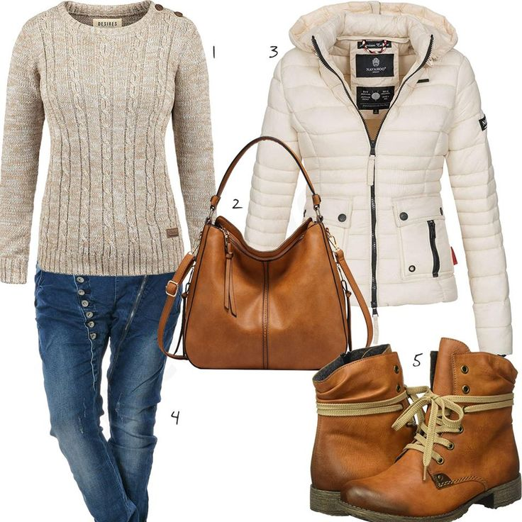 Frauenoutfit mit beigem Pullover und Steppjacke