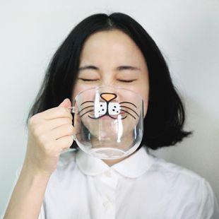 Hot sale kawaii glass cup 500ml Brand YIZI Transparent zakka mug Borosilicate novelty drinkware