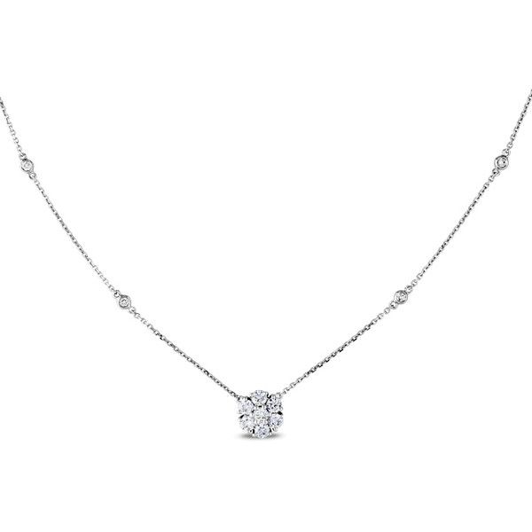 Ice 3/4 CT Diamond 14k White Gold Necklace ($1,750) ❤ liked on Polyvore featuring jewelry, necklaces, women's accessories, white gold jewelry, sparkle jewelry, 14k necklace, princess cut diamond necklace and ice jewelry
