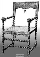 Chaise à bras Louis XIII