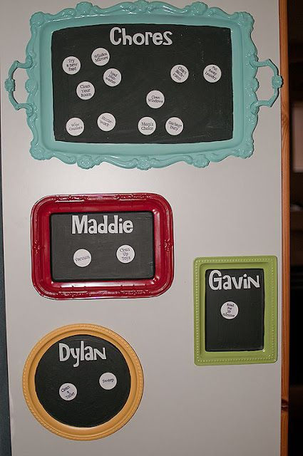 @Erica Cerulo Boyer --- thought you might like this for when the girls are older! =) YOu can use magnets with chores on them to split it up between the girls (and any future kids you may adopt!) ;) Convert old tray to magnetic chore chart. #chores #chorechart #parenting