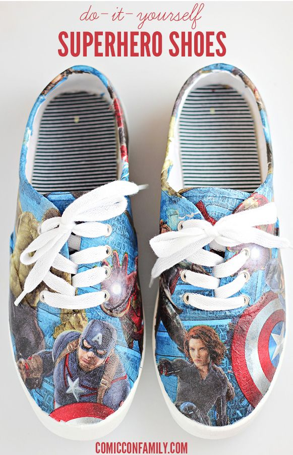 DIY Superhero Shoes - Learn how to make your own Marvel Avengers: Age of Ultron shoes with party napkins and Mod Podge!