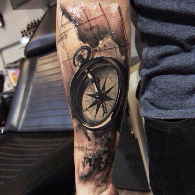 35 best tattoo images on pinterest tattoo ideas ship tattoos and realistic compass with map tattoo on sleeve 100 awesome compass tattoo designs gumiabroncs Gallery