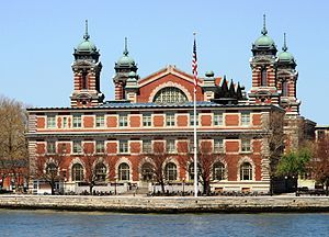 Ellis Island, in Upper New York Bay, was the gateway for millions of immigrants to the United States as the nation's busiest immigrant inspection station from 1892 until 1954. The island was greatly expanded with land reclamation between 1892 and 1934. Before that, the much smaller original island was the site of Fort Gibson and later a naval magazine...