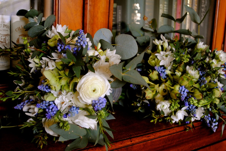 Narcissi, Grape hyacinth, hellebores, Anemone,  Ranunculus bridesmaid bouquets