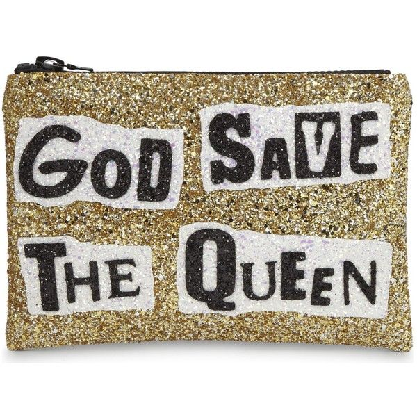 I Know The Queen God save the queen glitter clutch (£54) ❤ liked on Polyvore featuring bags, handbags, clutches, glitter handbags, metallic clutches, embroidered handbags, embroidery handbags and metallic handbags