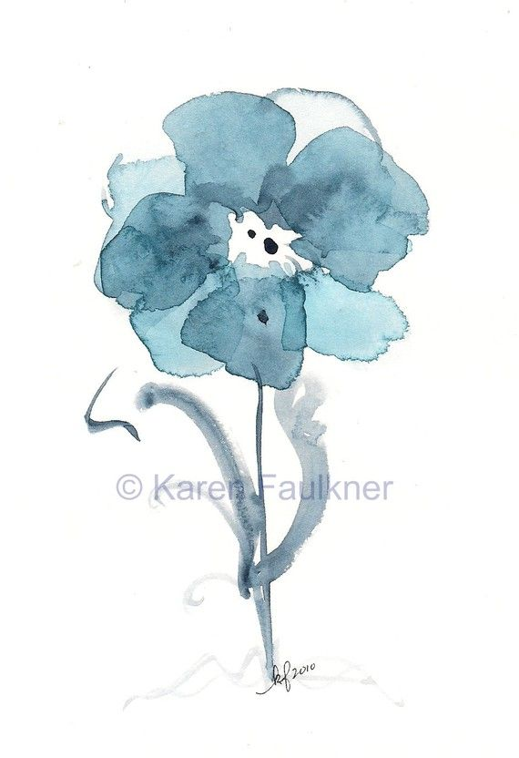 "Indigo blue watercolor flower art print: ""Indigo Blues Flower"""
