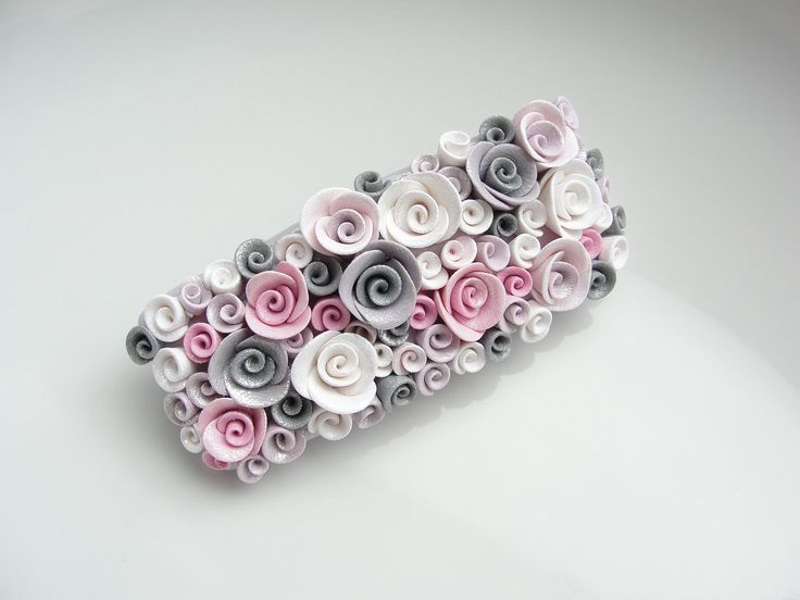 Pink and grey rose barrette hair clip handmade from polymer clay - Etsy seller fizzyclaret
