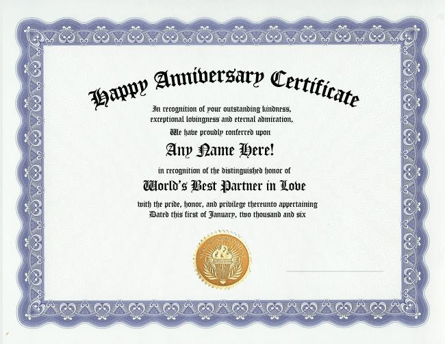 Happy anniversary award certificate husband wife gift for Wedding anniversary certificate template