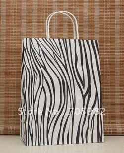 33X25X12cm Big size zebra printing paper bag Kraft gift bags with handle daily packaging supplies  (SS-493)