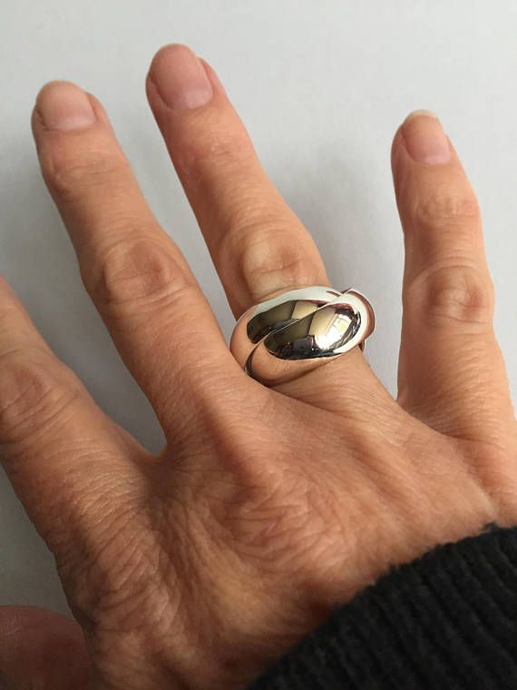 Sterling Silver Russian Wedding Ring. Chunky Silver Ring. Mens