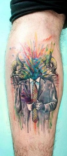 Tattoo - Watercolor - Head explosion - Dead - men