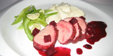 Pork Tenderloins Glazed with Maple-Beet Sauce