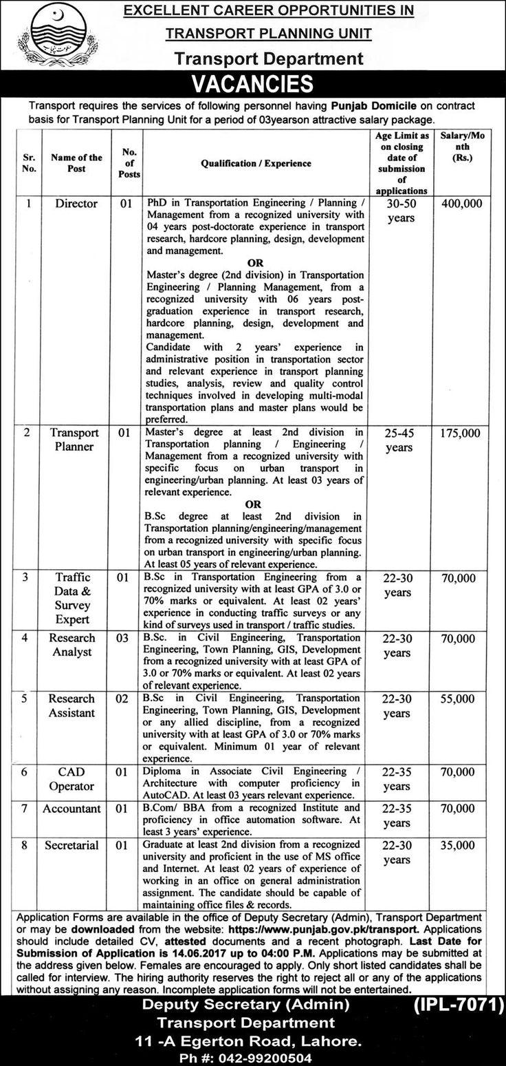 Jobs in Transport Planning Unit, Transport Department
