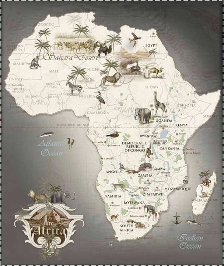 Africa Travel African Maps Africa Destinations Cards