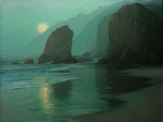 """Wading Moon by F. Michael Wood Oil ~ 20"""" x 24"""""""