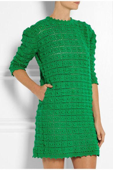 Платье крючком от Sibling. Crocheted merino wool mini dress #crochet_dress #Sibling