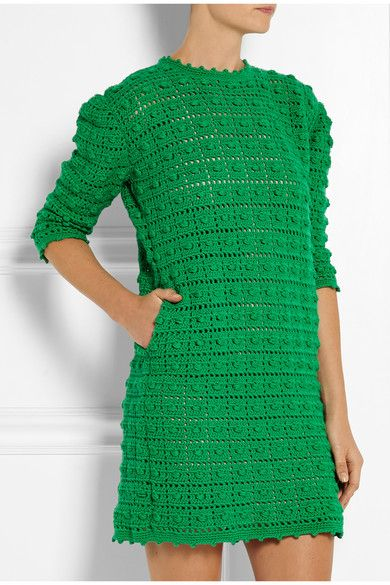 Платье крючком от Sibling. Crocheted merino wool mini dress #crochet_dress #Sibling
