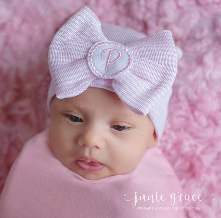 Newborn Baby Girl Hat Newborn Baby Girl Beanie  Baby Girl Hospital Hat Newborn Hat with Bow  Baby Girl Gift Monogrammed Newborn Hat by juniegrace on Etsy