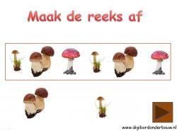 Digibordles paddestoelen: maak de reeks af http://digibordonderbouw.nl/index.php/themas/herfst/paddestoelen