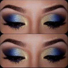royal blue and gold makeup - Ryerson Rams School Spirit!!