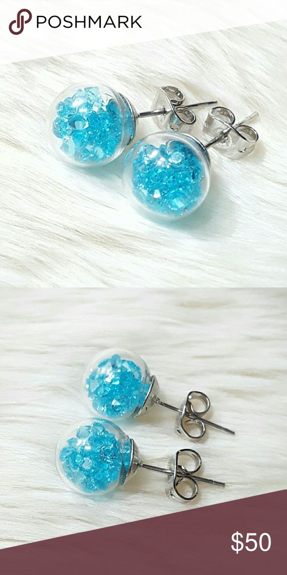 ⤵⤵Wishing Glass Earrings Swarovski Blue Elements Welcome!   One Of The Kind Elegant Gorgeous Beautiful New 10 mm Round Wishing Glass Earrings w. Swarovski Crystal Elements & Silver Plated.  Order Included: 1 Pair x 10mm Round Wishing Glass Earrings w. Swarovski Elements Crystal & Silver Plated Studs  Fast Shipping  Free House Gift (while supplies last) Special Wrapping  Come visit for great selection of high end handbag accessories, twilly, purse replacement chain gold, silver or titanium…