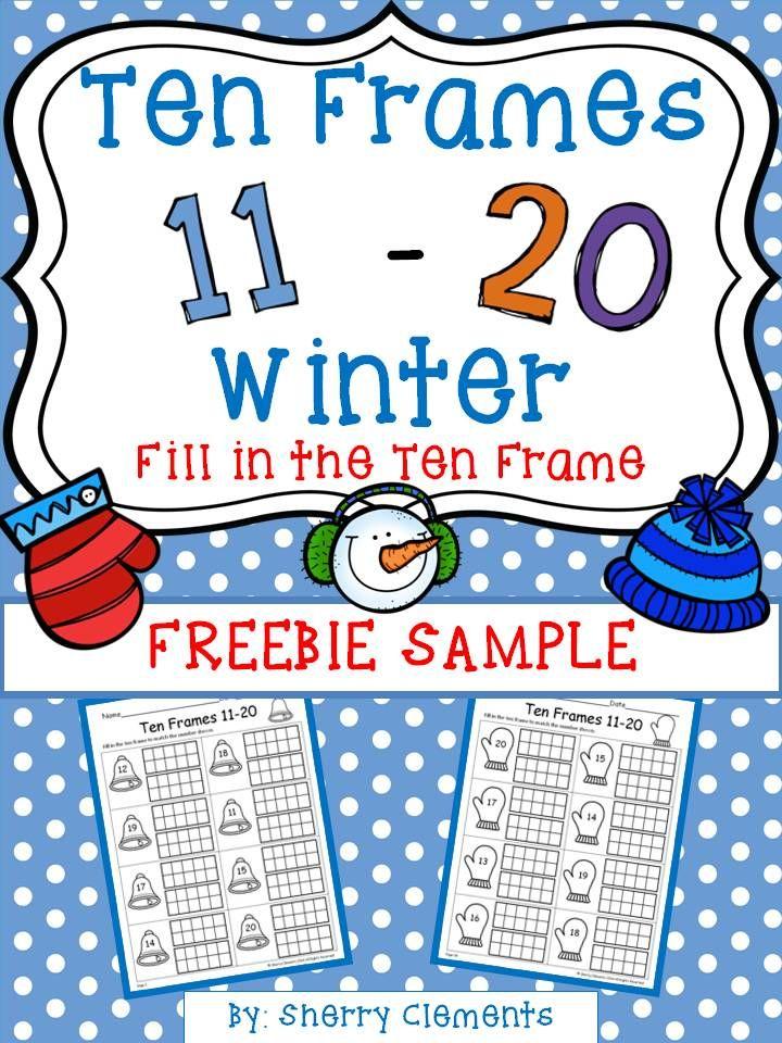 FREEBIE SAMPLE: Ten Frames 11-20 Winter (Fill in the Ten Frames) - kindergarten - first grade - math centers - homework - morning work - minilessons - interventions