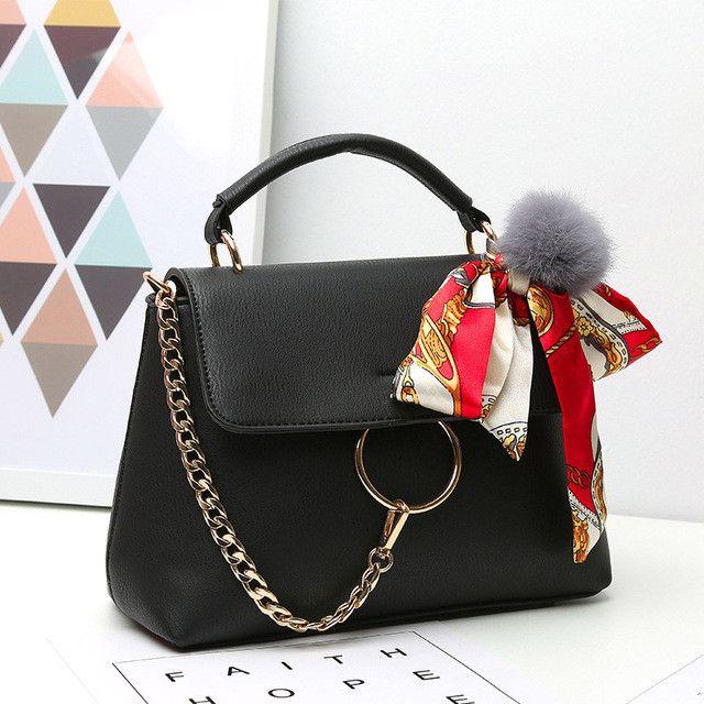 Chain Bow Scarves Real Leather Famous Designer Bolsos Mujer Feminina De Marca Handbags Crossbody Tote Bags For Women