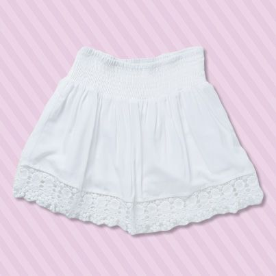 Pumpkin Patch Lace Trim Shirred Skirt - available in sizes 5 to 12 years http://www.pumpkinpatchkids.com/