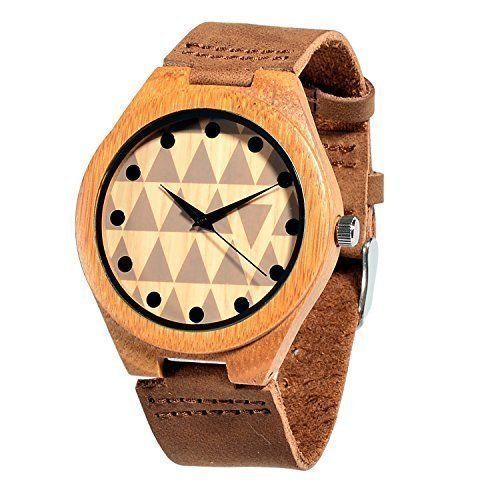 Wooden Watch Bamboo Wood Wristwatch Genuine Leather Band Bracelet Unisex New #WoodenWatchBamboo
