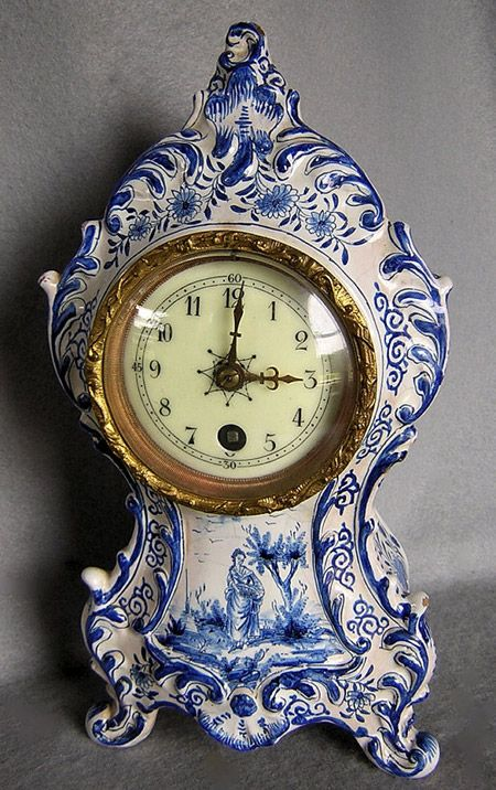 Rare antique French faience Majolica clock