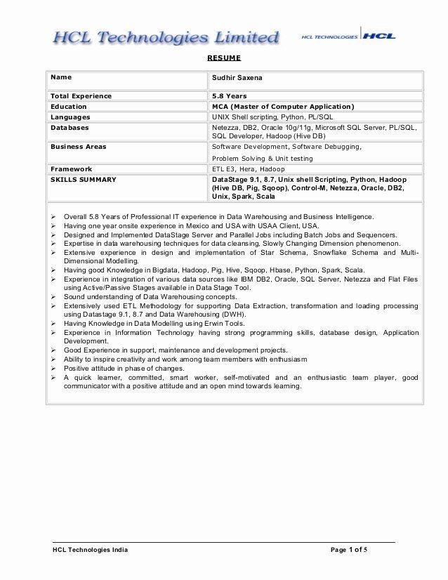 5 Years Experience Resume Awesome Sudhir Hadoop And Data Warehousing Resume In 2020 Job Resume Samples Resume Resume Examples
