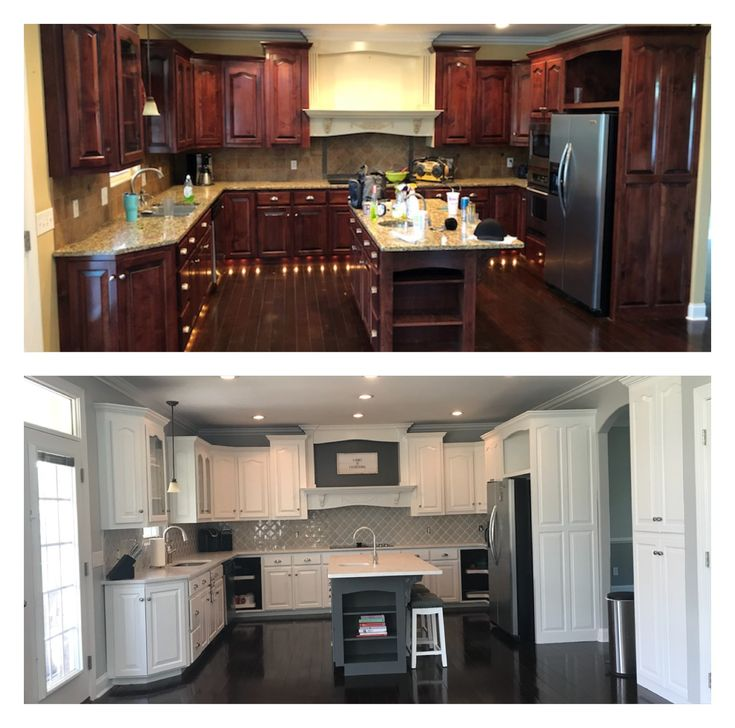 kitchen remodel before after cherry cabinets painted white island color benjamin moore on kitchen cabinets painted before and after id=20703