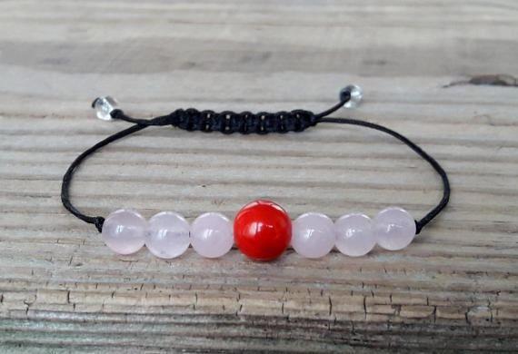 Red coral bracelet rose quartz power bracelet yoga meditation