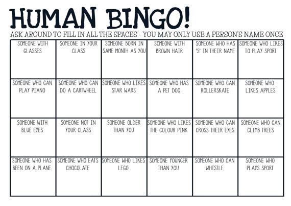 Perfect way to engage students in a friendly and fun get-to-know-you activity.    Learn more about your classmates while playing Human Bingo!    Formatted to A4.