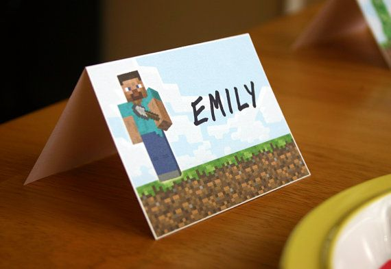 Minecraft Placecards Printable Minecraft by elletoppdesignworks, $3.00