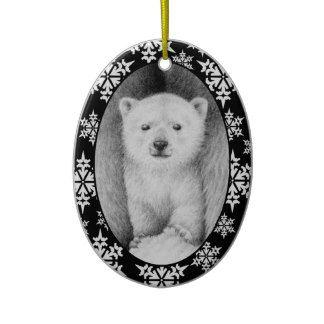 Polar Bear Cub Christmas Snowflake Ornament