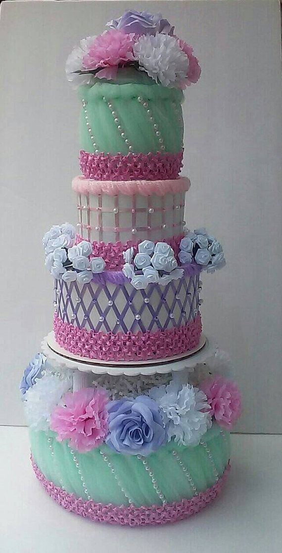 Chic Baby Girl Diaper Cakes Mint Green Pink And Purple Elegant Themed Baby Gi