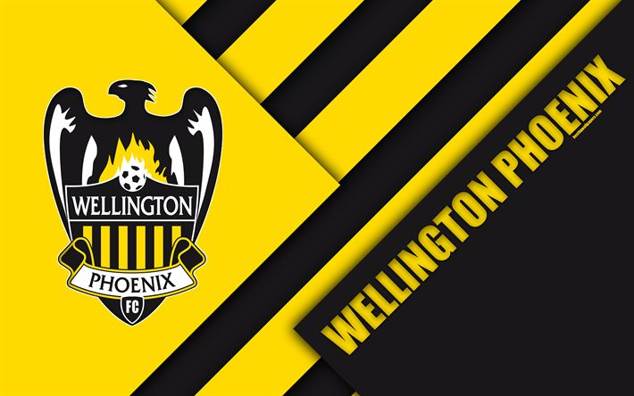 Download wallpapers Wellington Phoenix FC, 4K, Australian Football Club, material design, logo, yellow black abstraction, A-League, Wellington, Australia, emblem, football