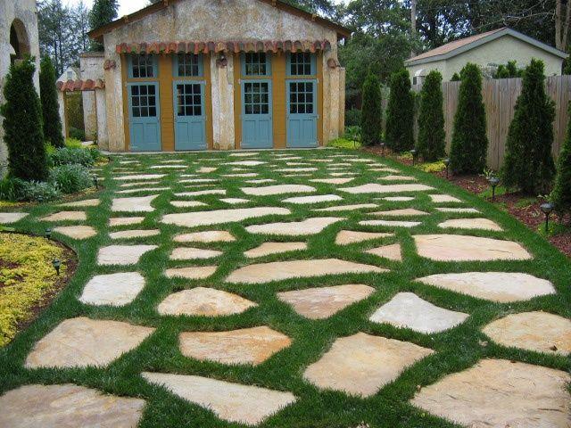 moss and stone driveway grass