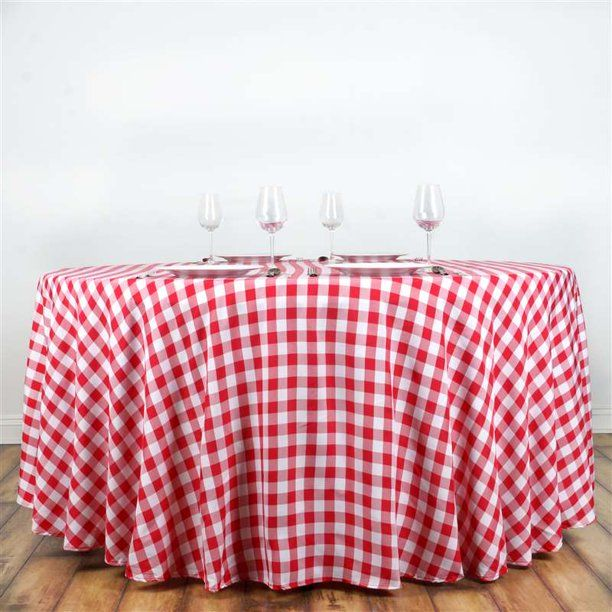 Buffalo Plaid Tablecloth 120 Round White Red Checkered Gingham Polyester Tablecloth Walmart Com Plaid Tablecloth Table Cloth Red Checkered