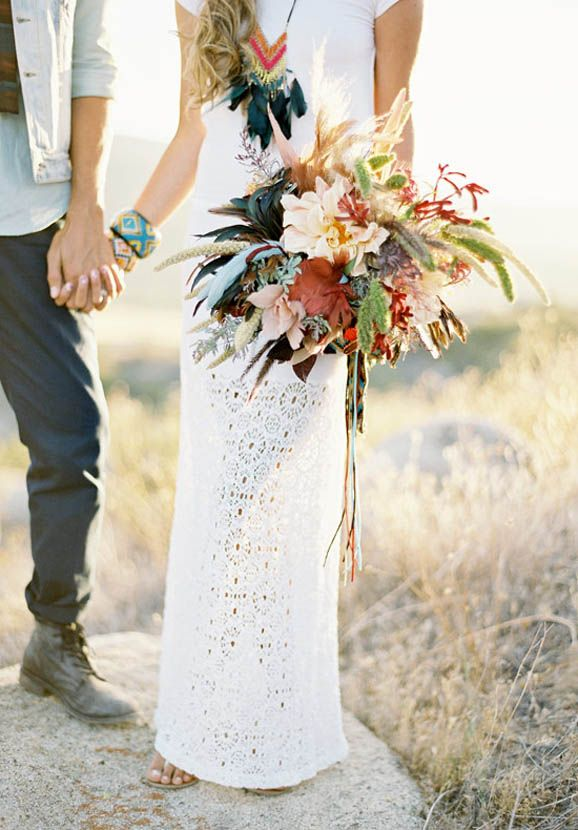 Southwestern Desert Wedding from RockNRollBride.com - I LOVE the necklace and bouquet!!!