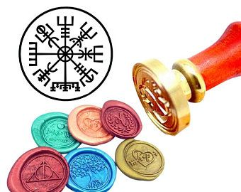 Viking Rune Vegvisir Wax Seal Stamp, Custom Viking Rune Sealing Wax Stamp Kit, Vegvisir Wax Stamp, Custom Initial Date Wedding Invitation