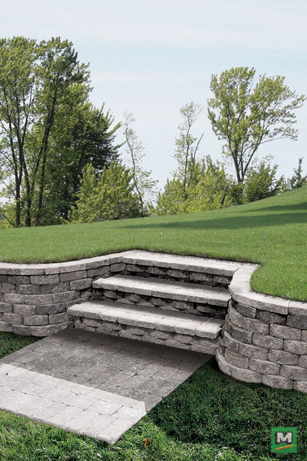 Complement your landscaping with this Crestone Wall with Stairs. With minimal cutting and assembly required, you can easily create this impressive stairway all by yourself using Belgian Pavers and Crestone Retaining Wall Blocks.